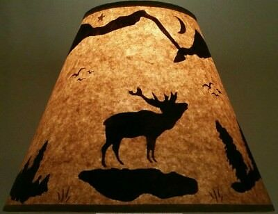 """KOKOPELLI LAMP SHADE RUSTIC PARCHMENT PAPER 12/"""" CLIP ON LODGE LOG CABIN INDIAN"""