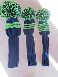 Hand Knit Golf Club Covers Vintage Style With Pom Poms Navy And