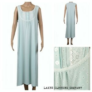 M S Ladies COTTON Nightdress Nightie Mint Green Floral Long Full ... 8b3147453