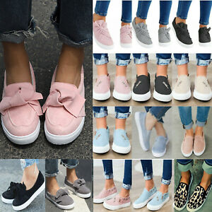 Women-Ladies-Casual-Canvas-Shoes-Plimsolls-Flats-Slip-On-Loafers-Sneakers-Pumps