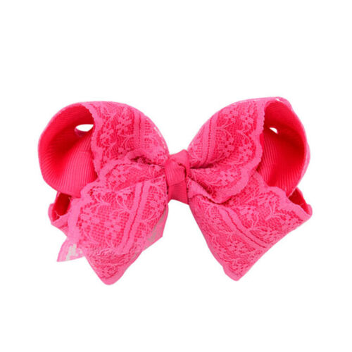Girls Baby Grosgrain Hair Bow Alligator Lace  Hair Clip Hair Accessorie RDR