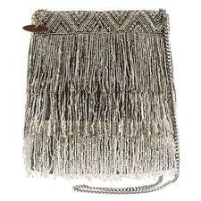 Mary Frances Shimmer Falls Silver Tassel Flowers Summer17 Beaded Bag Handbag NEW