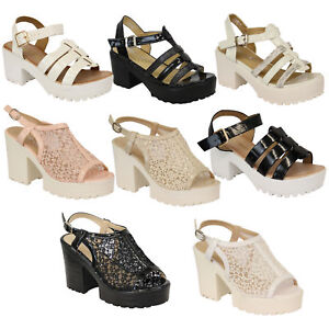 Ladies-Sandals-Womens-Cleated-Chunky-Block-Heel-Mesh-Platforms-Strap-Patent-New