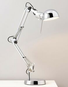 TALL-Retro-Chrome-Silver-Metal-Office-Desk-Table-Lever-Lamp-ADJUSTABLE-NEW