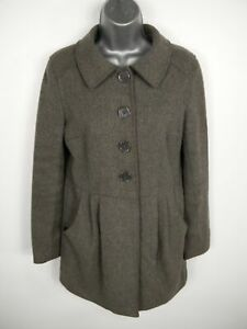 WOMENS H&M GREY BUTTON UP SINGLE BREASTED WOOL BLEND OVERCOAT JACKET UK SIZE 10