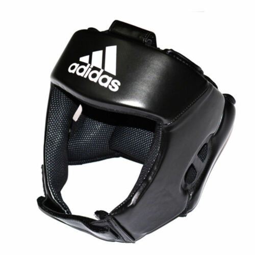 Adidas AIBA Style Boxing Head Guard Black Open Face Headguard