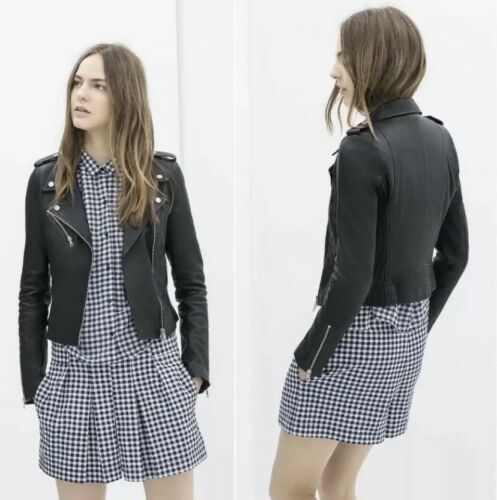 Zara Leather Biker Jacket With Gathered Sides. Siz