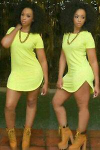 Abito-nudo-maglia-svasato-Neon-Fluorescent-Green-Side-Slit-Mini-T-shirt-Dress