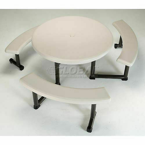 Lifetime 44 Inch Almond Round Picnic, Lifetime Round Picnic Table