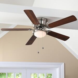 LOW-PROFILE-CEILING-FAN-52-in-LED-Contemporary-Brushed-Nickel-Flush-Mount-Dome