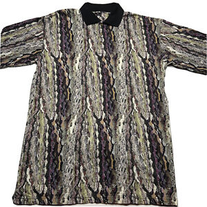 Vintage 90s Tundra Herren L Multi Colored Bill Cosby Hip Hop COOGI Style Polo Shirt
