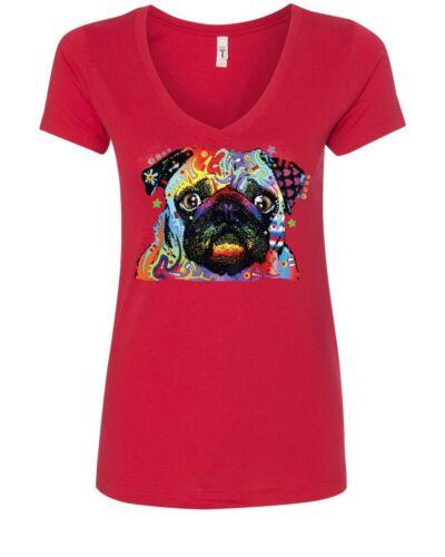Adorable Cute Pug Women/'s V-Neck T-Shirt Dean Russo Funny Colorful Neon Pet Pup