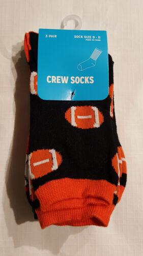 Shoe Size Boys Set of 3 Novelty Sports Crew Socks 6 to 1.5--4 to 10.5