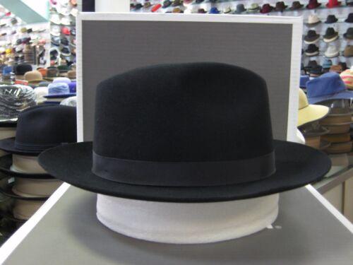 STETSON GREENWICH BLACK FUR FELT FEDORA DRESS HAT