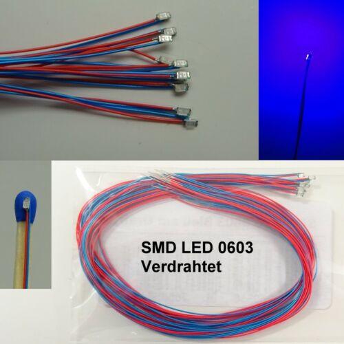 10 Pièces SMD DEL 0603 Bleu programmés avec câble de fil en microkabel c3738