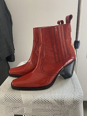 Ganni Red Patent Leather Cowboy Boots