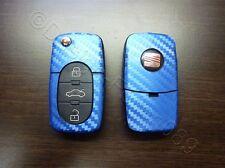 Carbon Blau Dekor Schlüssl Folie Seat leon Golf Passat VW Tuning Bora Polo Skoda