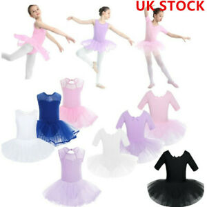 UK-Girl-Kids-Ballet-Dance-Dress-Tutu-Skirt-Gymnastic-Leotard-Dancewear-Costume