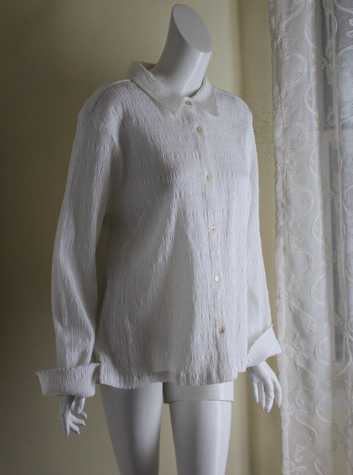 Hanna Andersson XL 16 14 Weiß Shirrot French Fiber Art Ruched Shirt Top Jacket