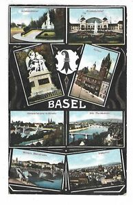 BASEL-SWITZERLAND-multi-view-postcard-Circa-1912