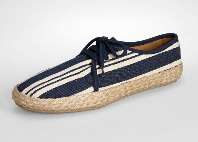 fba3d2c3fdd NIB TORY BURCH Canvas Lace Up Flat Espadrille Size 9 Navy Latte Shoe  Sneaker NEW