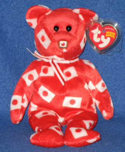TY HIKARI the BEAR FLAG NOSE BEANIE BABY JAPAN EXCLUSIVE MINT TAG
