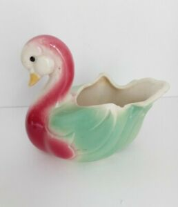 Vintage-Duck-Planter-Pottery-Pretty-Ceramic-Flower-Pot-Pink-Green