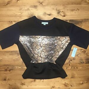 3bebd606ce9d4 CAMILLA TREE Women s Sequined Peplum Top Size Small Sexy Black Snake ...