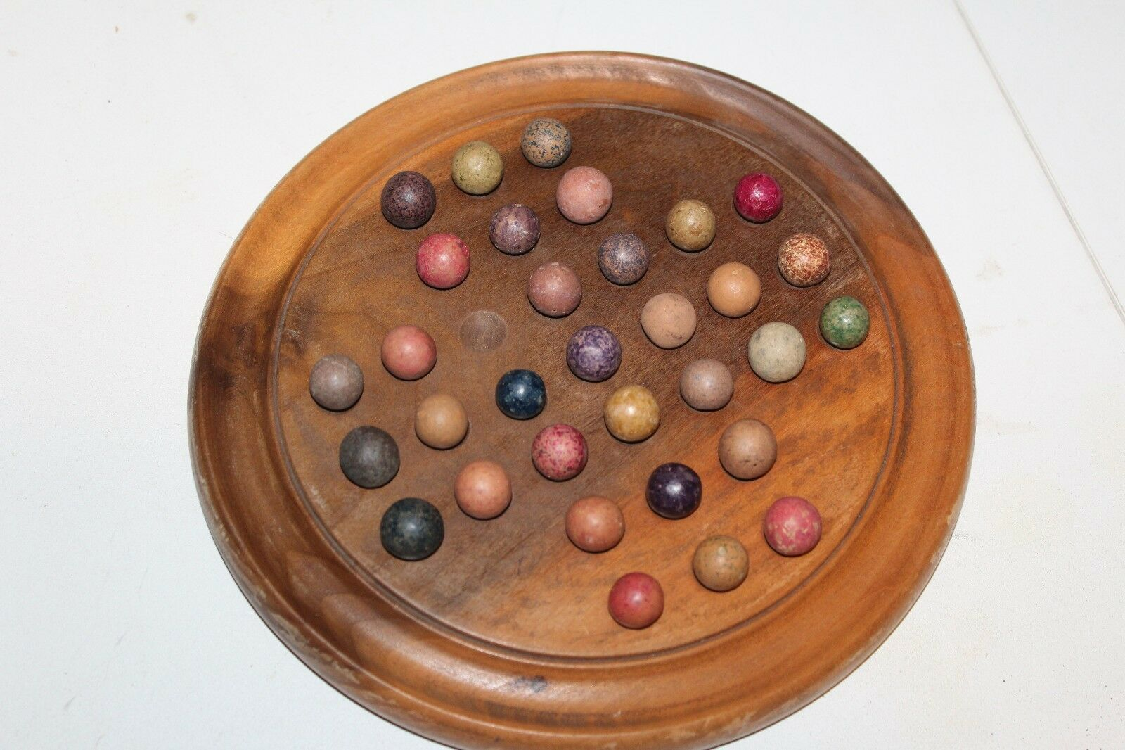 VINTAGE WOODEN 19th CENTURY MARBLE GAME BOARD AND CLAY MARBLES