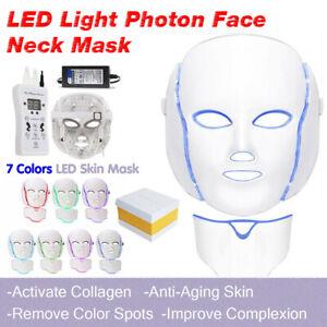LED-Light-Photon-Face-Neck-Mask-Rejuvenation-Skin-Therapy-Wrinkles-7-Colors-US