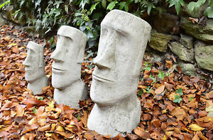 Image Is Loading EASTER ISLAND HEADS SET MOAI Stone Garden Ornament