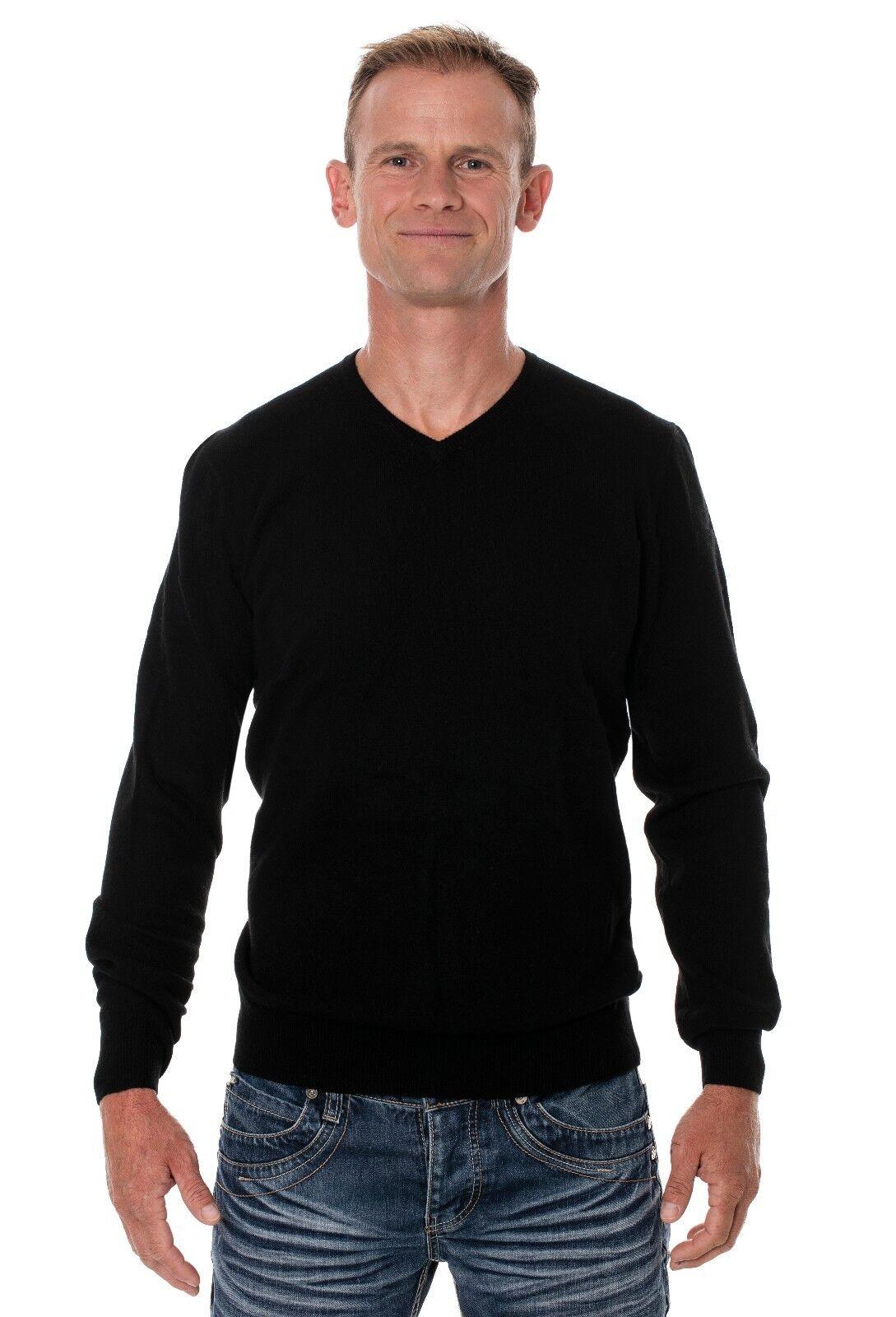 Ugholin Jersey para Hombre con Escote en V 100% Merino, Negro