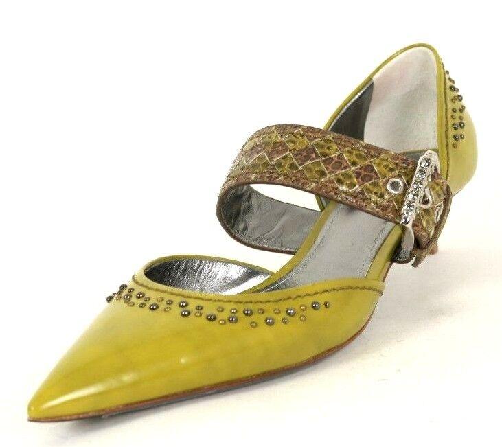 BOTTEGA VENETA ,100 2018 Green Patent Studded Kitten Heels Pumps 41