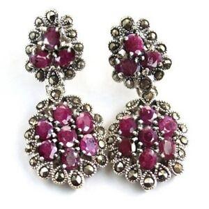 Bescheiden Exquisite Ohrstecker OhrgehÄnge 925 Silber Echte Rubine Und Markasiten Ohrringe