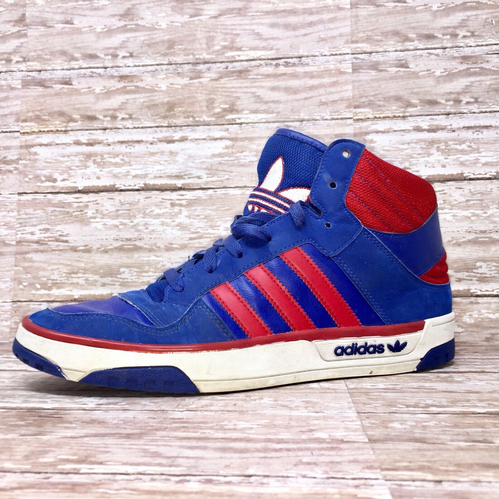 ADIDAS Hi Top Post Player Vulc Basketball Sneakers Trainers Red bluee 9.5