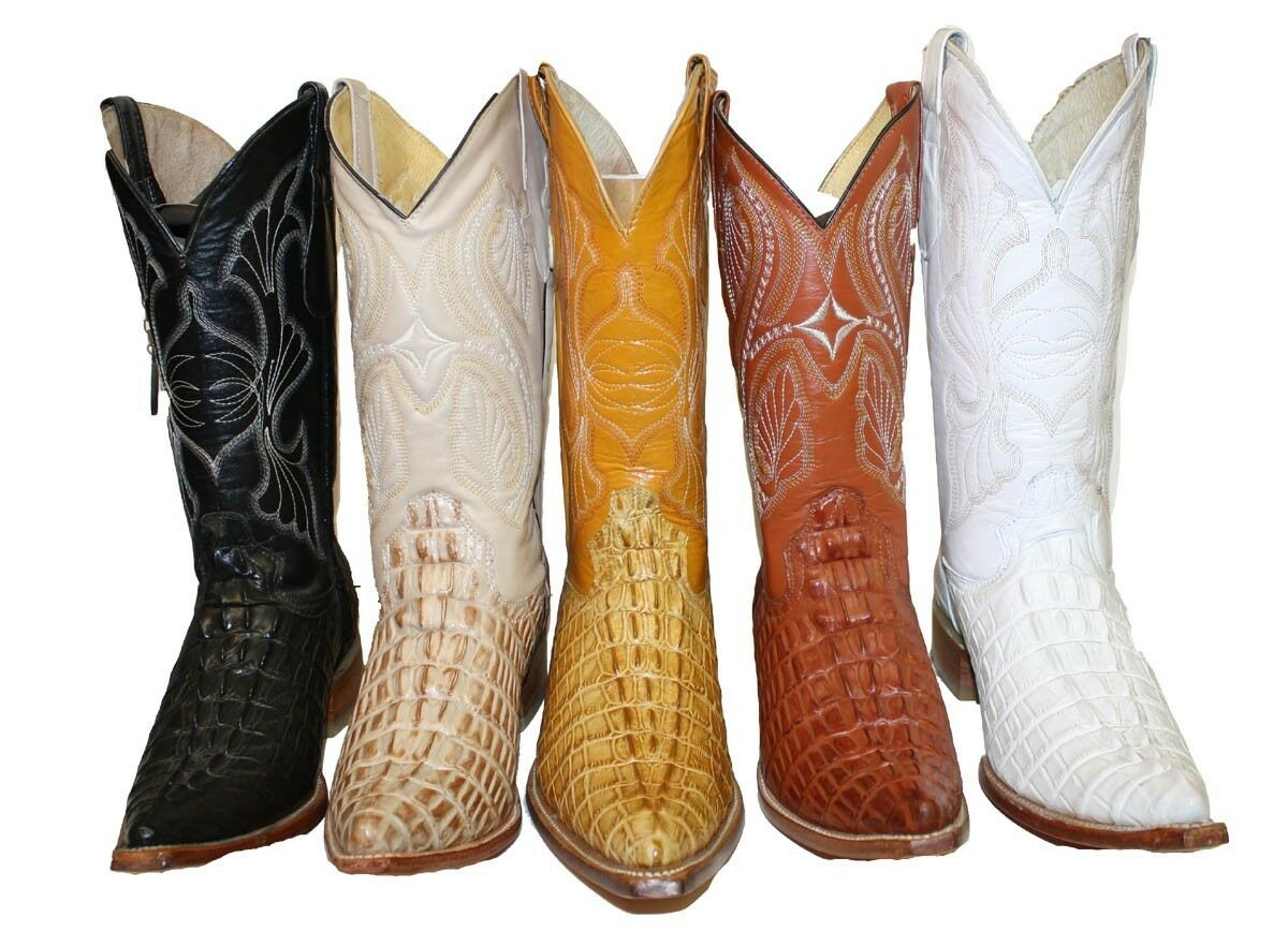 Cowboy boots Leather Crocodile Print(embossed) Cowboy Handmade Luxury Boots 3X