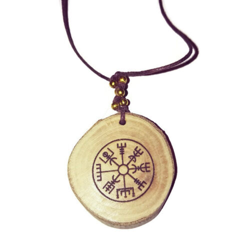 Vegvisir-Nordic-Compass-Necklace-Wooden-Charm-Handmade-Engraved-Norse-Viking
