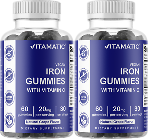2 Pack Vitamatic Iron Gummies Supplement for Women & Men 20mg Serving 60 Vegan