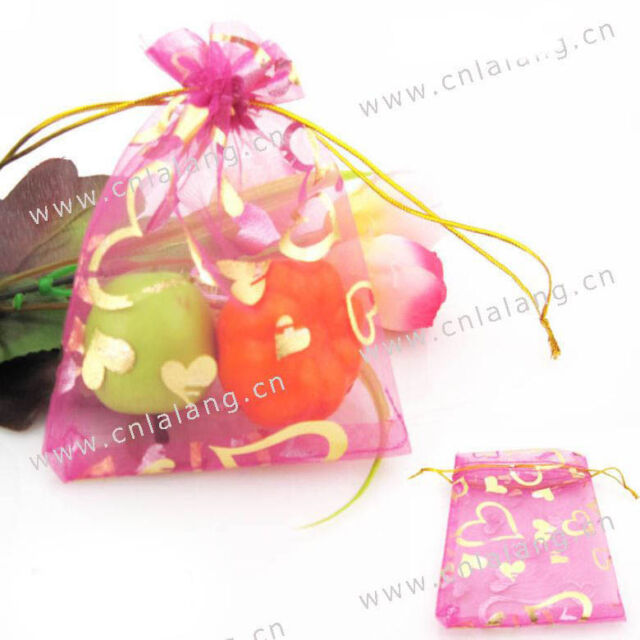 250x Rosy Heart Organza Pouch Gift Bags 9x12cm 120006