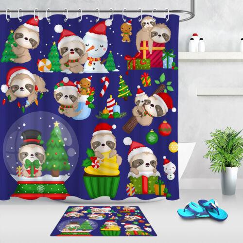 Cute Christmas Sloth Snowman Xmas Tree Shower Curtain Hooks Waterproof Bath Mat