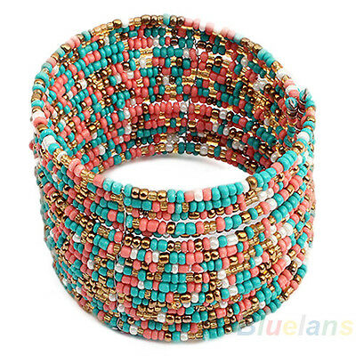 Hot Womens Fashion Multi-Layer Bohemian Beads Bracelet Open Design 3 Colors B84U
