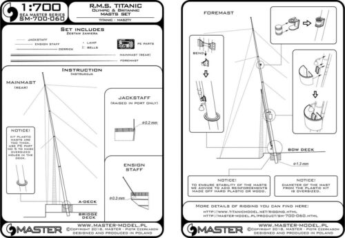 Master SM700060 1//700 R.M.S Titanic Olympic, Britannic - Masts Set