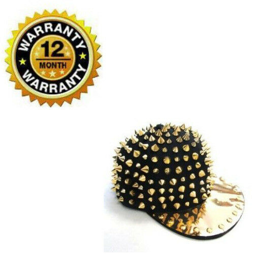 Hip Hop Baseball Cap Punk Rock Black With Gold Rivet Spike Studded Brim Flat Hat