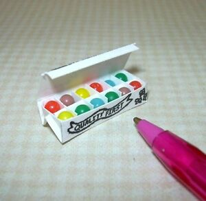 Miniature-Egg-Carton-w-Colorful-Bead-Easter-Eggs-WHITE-DOLLHOUSE-1-12-Scale