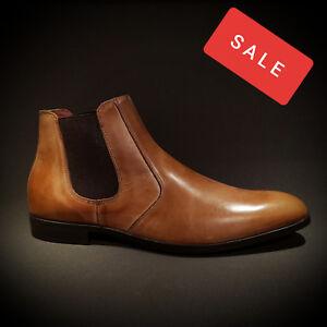 populärer Stil bester Wert schnelle Farbe Details zu Nicola Benson Italy Herren Stiefel Chelsea Boots Schuhe braun  Leder Neu