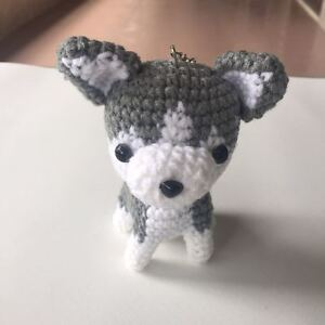 Gray Chihuahua Crochet Stuffed Animal Dog Amigurumi Dog Doll Key