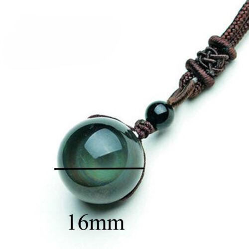 Natural Stone Black Obsidian Rainbow Eye Beads 16mm Pendant Lucky Love Crystal