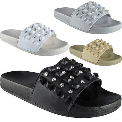 Mujer señoras cómoda llano de goma Stud deslizadores Zapatos Bajos Zapatos diapositivas Zapatillas Tamaño