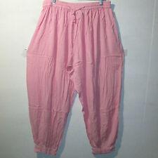 Baggy Pants Fits 1X 2X 3X Plus Pink Yoga Lounge Harem Wide Leg Button Cuff NWT