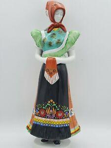 Vtg-Hollohaza-Hungary-Porcelain-Lady-Figurine-Hand-Painted-Folk-Art-11-5-039-039-T